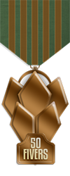 50 fivers medal bronze