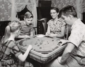family playing only a game