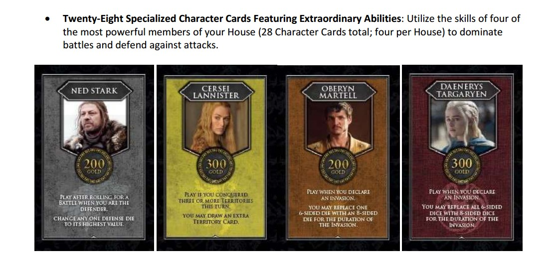 RISK Game of Thrones Character Cards